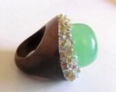 NewYear SALE Gorgeous Green chrysoprase Bubble ring