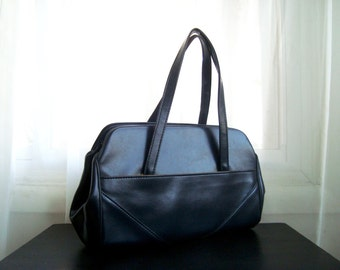 Large Satchel Handbag, Navy Blue Faux Leather Pocketbook