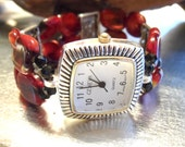 Red Fire Glass Lentil Stretch Watch Band