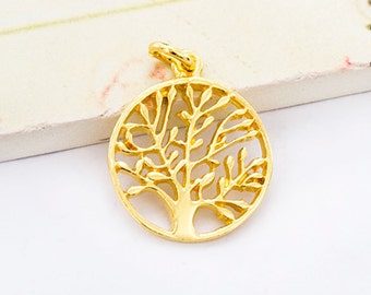 1 of 925 Sterling Silver 24K Gold Vermeil Style Tree of Life Charm 16 mm. :vm0701