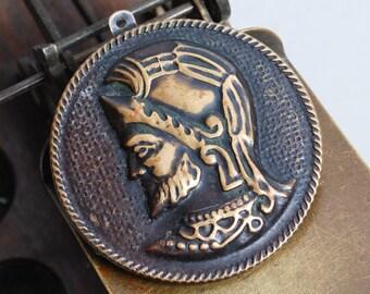 Vintage brass pendant, Roman Emperor (IL)