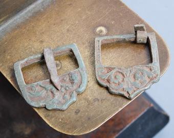 Set of 2 Antique brass belt buckles, dark patina, primitive finding