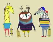 Animals that Skateboard.  nursery room decor, kids decor, childrens art, illustration print, baby boy.