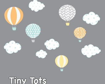 Hot Air Balloon Nursery-Hot Air Balloon Decals-Hot Air Balloon and Cloud Decal-Wall Stickers-Girl-Bedroom-Nursery Decor-Wall Sticker-e27