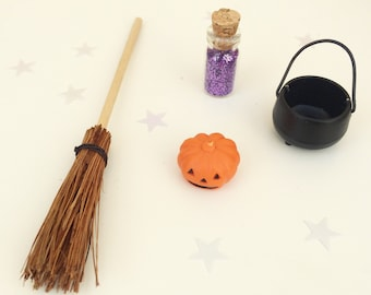 Halloween Fairy Door Accessory Set - Miniature Pumpkin, Broomstick, Witch's Cauldron and Spooky Fairy Dust - Fairy Door Accessories