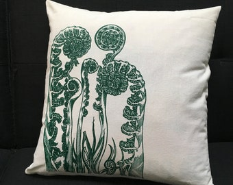 Throw Pillow Cover Fiddlehead Ferns Forest Green Original Art Screen Print Organic Cotton Hemp Recycled Poly 17 X 17