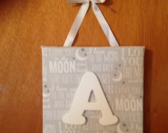 I Love You to the Moon and Back Personalized Initial Nursery Wall/Door Hanging FREE SHIPPING