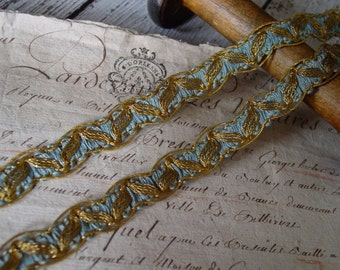 Lovely Antique/Vintage French metallic gold and blue rayon trim, one yard