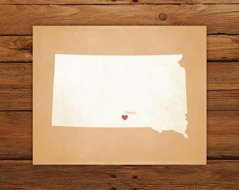 Customized Printable South Dakota State Map Art - DIGITAL FILE - Aged-Look Canvas Wall Art Print