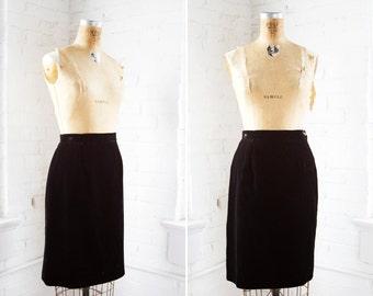 1980s Black Velvet Skirt - 80s Black Velvet Pencil Skirt