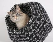 The Cat Ball Pet Bed In Chalkboard Script Handwriting Fabric