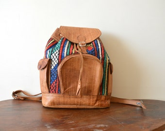 Leather Backpack Womens Bag Vintage Leather Ethnic Print School Backpack Purse