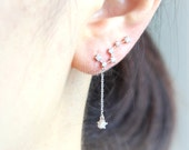 Big Dipper Ear Climber with a drop chain/ ear cuff, choose your color, gold, silver