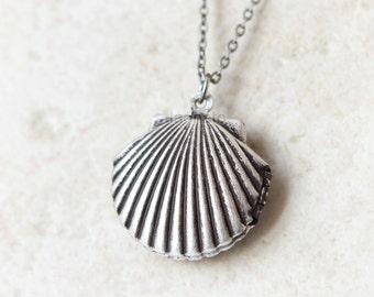 Scallop Locket Necklace / Seashell necklace, burnished silver locket