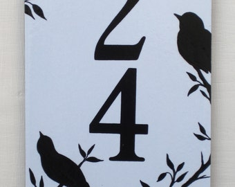 Birds Outdoor House Number Tile Vertical
