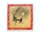 ON SALE Antique hand painted woven Japanese rice paper ravens and full moon painting, Japanese watercolour