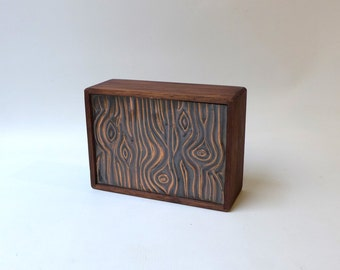 Vintage mid century artisan atomic style copper and polished wood trinket jewellery box