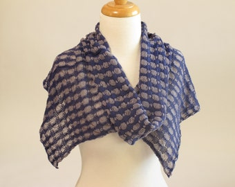 Shawl Scarf, Organic Cotton and Linen, Blue