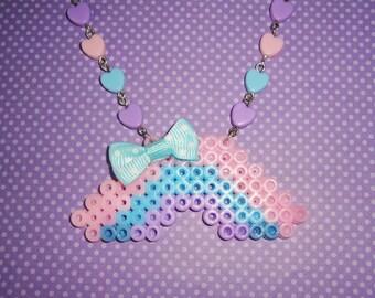 Pastel Perler Beaded Rainbow Pastel Hearts Beaded Necklace