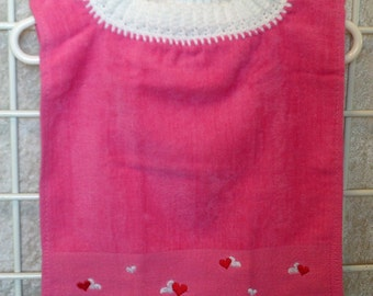 Pink Embroidered Pullover Bib