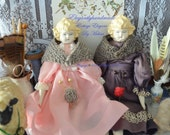 China Doll Hand Knit Tasha Tudor Style Shawl Vermont wool Doll accessories miniatures