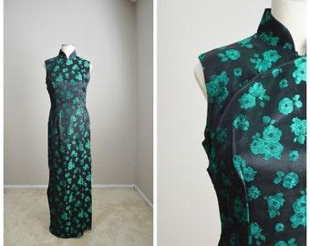 Vintage 60s Hawaiian Asian Maxi Sleeveless Formal Evening Summer Luau Dress // Womens small/med
