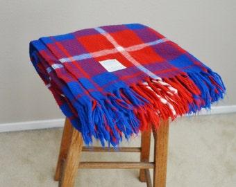 Vintage Faribault Faribo Red Burgundy Blue Plaid Picnic Throw Stadium Blanket