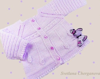 Knitted baby cardigan, baby sweater,newborn cardigan,lilas baby sweater, knitted baby jacket, , READY TO SHIP