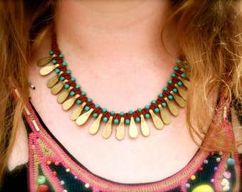 Tribal necklace/ Tribal collar/ boho necklace red and gold
