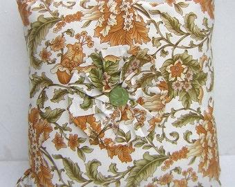 Decorative Handmade Vintage Fabric Cushion Cover- Green Button