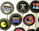 15 I Love 80s Party Picks - Cupcake Toppers - Toothpicks - Food Picks - FP672