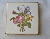 Vintage Villeroy & Boch Mettlach Trivet Ceramic Tile Metal Gilt Stand 1960s Made in Germany Cottage Pink English Roses Purple Iris Daffodil