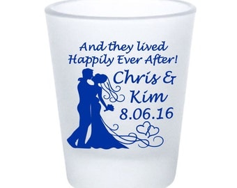 Wedding Favors Personalized Frosted Shot Glasses - And they lived Happily Ever After! Bride & Groom Hearts - Custom Wedding Favor