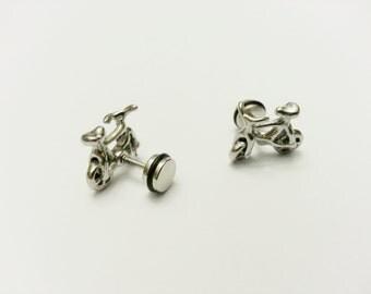 Bike BMX Gauge Plug Earring Piercing Body Jewelry Stainless Steel Bicycle Ear Stud Post Unisex EABIKE05