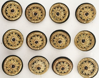 Gold Metal Thread Embroidered on Velvet Buttons - Set of 5