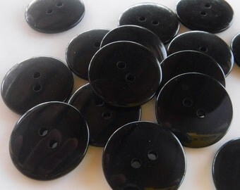 15 Black Smooth Shiny Round Buttons Size 13/16""