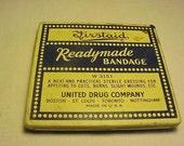 c1920s Firstaid Readymade Bandage W3151 United Drug Company Boston , First Aid Medical Tin