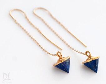 Lapis Lazuli Earrings - Spike Earrings - Gold Ear Thread Earrings - Ear Threader Earrings - Minimal Jewelry - Long Gold Dangle Earring