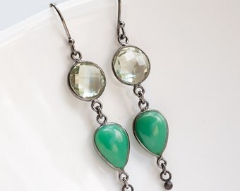 Green Chrysoprase Earrings - Oxidized Silver Earrings - Green Amethyst Gemstone Earrings - Long Dangle Earrings