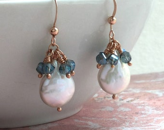 Coin pearl dangle earrings, freshwater, teal crystal accents, 14Kt rose gold filled, bridal, everyday jewelry, Mother's day E181