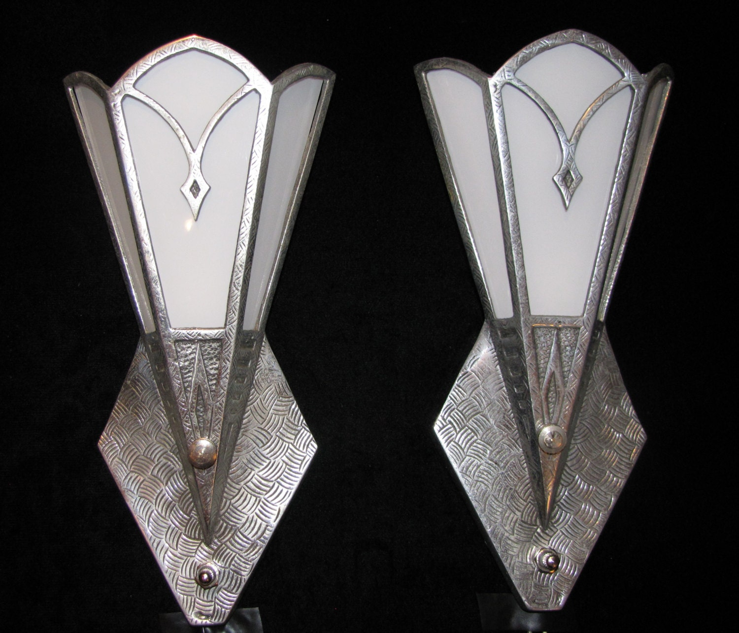 Vintage Pair Art Deco Wall Sconces/ FREE SHIPPING