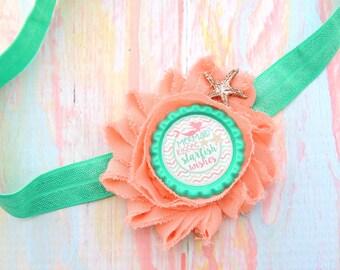 Mint beach bow - Beach baby - Baby shower gift - Mermaid bow - Shabby headband - Beach bow - Shabby chic