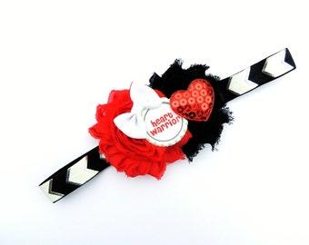 Heart Warrior bow - Heart warrior clip - CHD awareness - CHD baby - CHD hair bow - Heart hair bow
