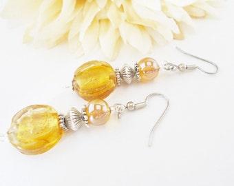 Bohemian Earrings, Lampwork Earrings, Boho Jewelry, Gift for Her, Yellow Topaz Beaded Earrings, Amber Czech Glass Earrings, Clip On Earrings