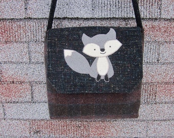Fox crossbody bag, fox messenger bag, fox purse,wool purse