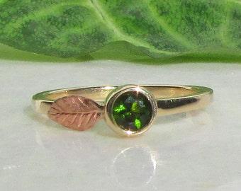 Green Tourmaline, 14k Gold Stacking Ring, Rose Gold Leaf Ring, October Birthstone Ring, Gold Stacking Ring, Rose Gold Ring, 14k Gold Ring