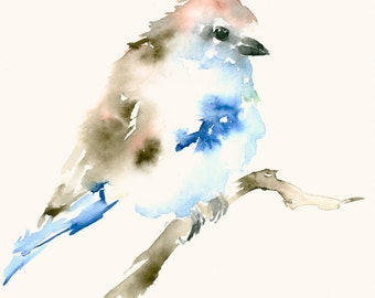 Original Watercolor Painting Lightblue Bird