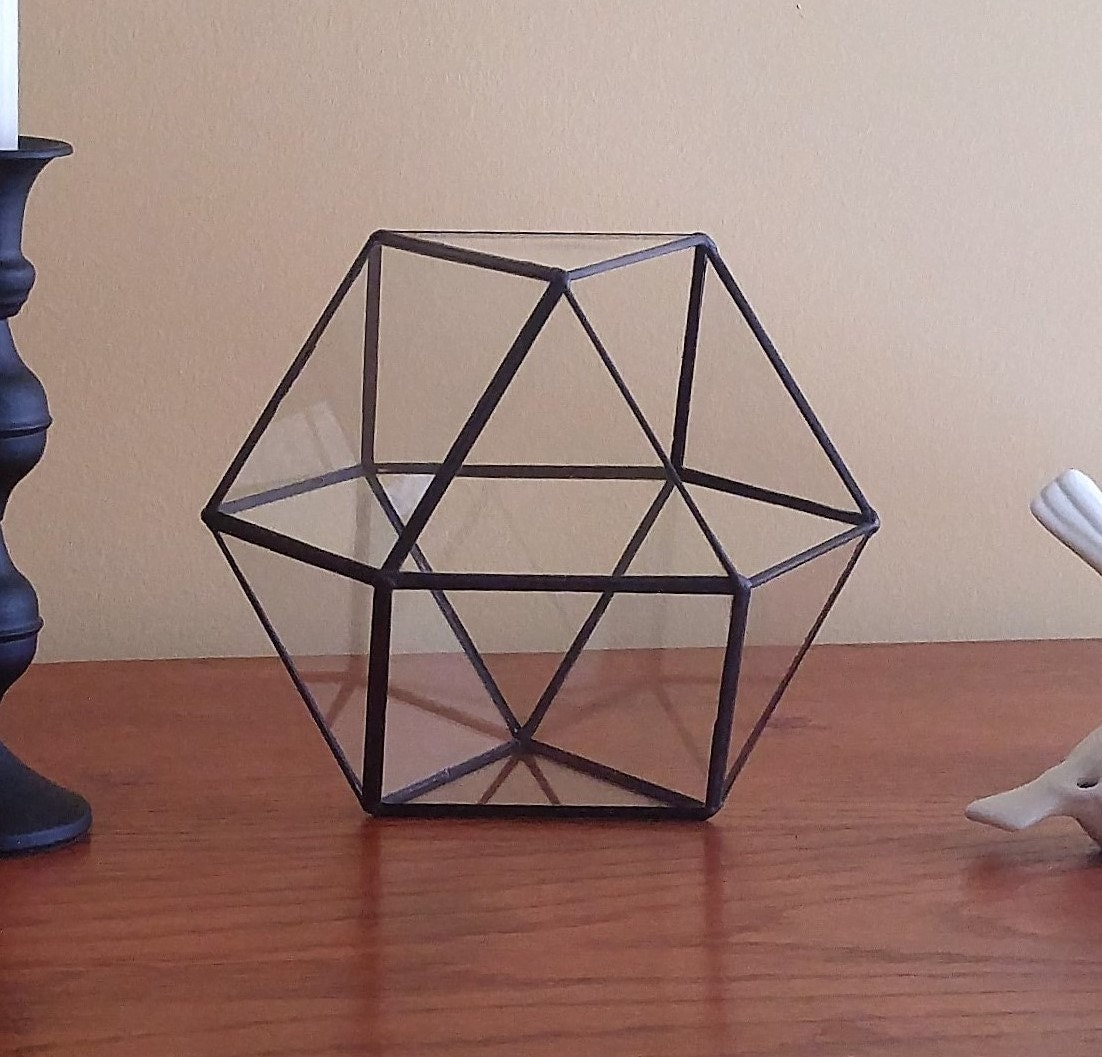 Make An Eye Catching Jewelry Stand From Plumber S Copper: Stained Glass Geometric Terrarium Black Coffee Table Art Home