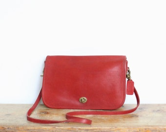Vintage Coach Bag // Red Coach Convertible Clutch Large Dinky Purse New York City Cashin