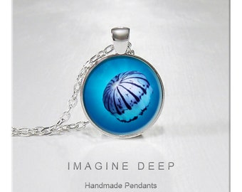 BUY 2 GET 1 FREE Jellyfish Pendant Necklace Ocean Blue Black White  High Quality Handmade Silver Copper Pendant - Beautiful Jellyfish (063)